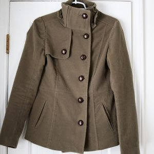 Jackets & Blazers - Olive Green fleece military-inspired jacket